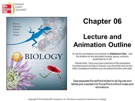 Chapter 06 Lecture and Animation Outline Copyright © The McGraw-Hill Companies, Inc. Permission required for reproduction or display. See separate PowerPoint.