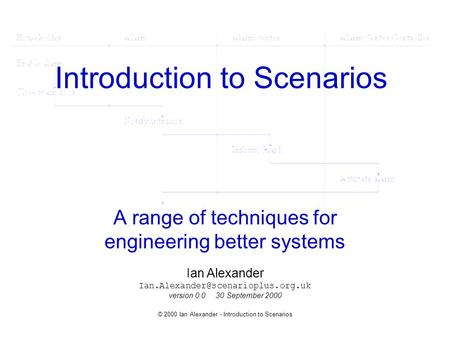 © 2000 Ian Alexander - Introduction to Scenarios Introduction to Scenarios A range of techniques for engineering better systems Ian Alexander