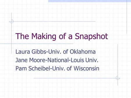 The Making of a Snapshot Laura Gibbs-Univ. of Oklahoma Jane Moore-National-Louis Univ. Pam Scheibel-Univ. of Wisconsin.