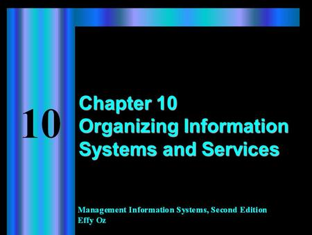 Chapter 10 Organizing Information Systems and Services.