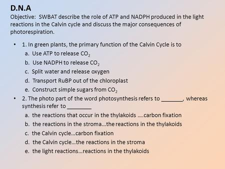D.N.A Objective: SWBAT describe the role of ATP and NADPH produced in the light reactions in the Calvin cycle and discuss the major consequences of photorespiration.