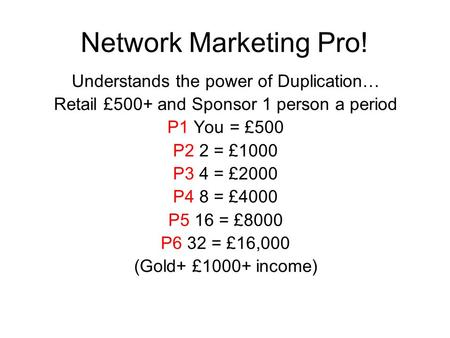Network Marketing Pro! Understands the power of Duplication… Retail £500+ and Sponsor 1 person a period P1 You = £500 P2 2 = £1000 P3 4 = £2000 P4 8 =