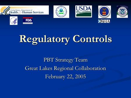 Regulatory Controls PBT Strategy Team Great Lakes Regional Collaboration February 22, 2005.