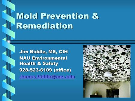 Mold Prevention & Remediation Jim Biddle, MS, CIH NAU Environmental Health & Safety 928-523-6109 (office)