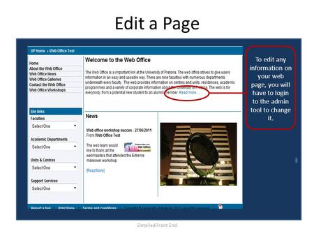 Edit a Page Detailed Front End To edit any information on your web page, you will have to login to the admin tool to change it.
