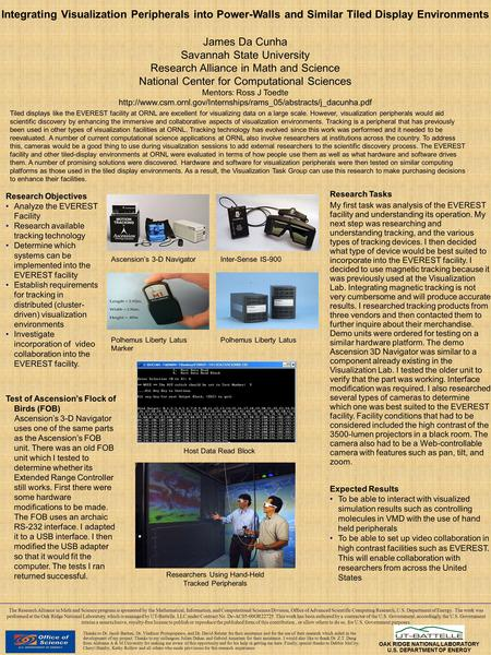Integrating Visualization Peripherals into Power-Walls and Similar Tiled Display Environments James Da Cunha Savannah State University Research Alliance.
