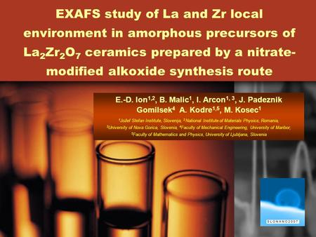1 EXAFS study of La and Zr local environment in amorphous precursors of La 2 Zr 2 O 7 ceramics prepared by a nitrate- modified alkoxide synthesis route.