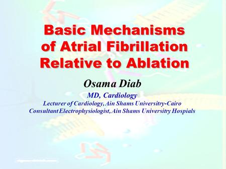Basic Mechanisms of Atrial Fibrillation Relative to Ablation Osama Diab MD, Cardiology Lecturer of Cardiology, Ain Shams Universitry-Cairo Consultant Electrophysiologist,