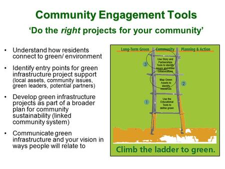 Community Engagement Tools Community Engagement Tools 'Do the right projects for your community' Understand how residents connect to green/ environment.