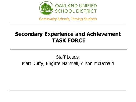 Secondary Experience and Achievement TASK FORCE Staff Leads: Matt Duffy, Brigitte Marshall, Alison McDonald.