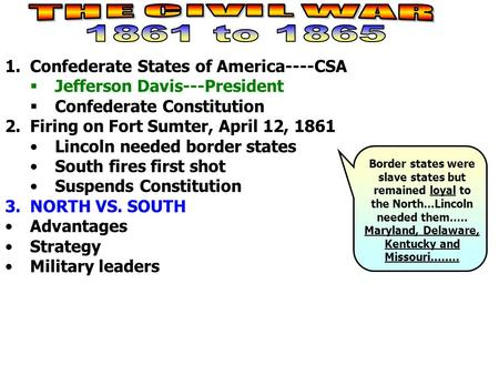 1.Confederate States of America----CSA  Jefferson Davis---President  Confederate Constitution 2.Firing on Fort Sumter, April 12, 1861 Lincoln needed.
