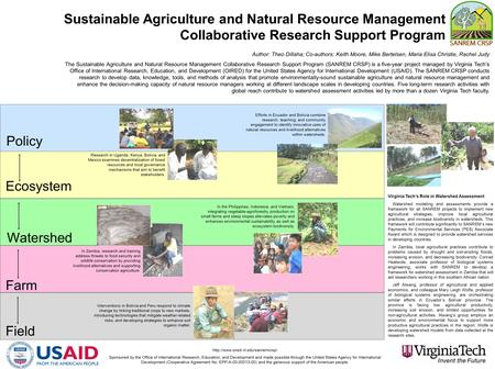 Policy Ecosystem Watershed Farm Field Sustainable Agriculture and Natural Resource Management Collaborative Research Support Program Author: Theo Dillaha;