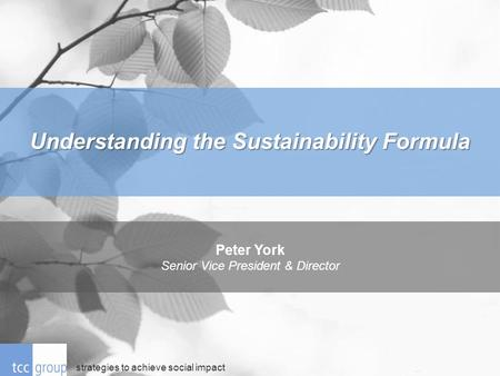 Strategies to achieve social impact Peter York Senior Vice President & Director Understanding the Sustainability Formula.