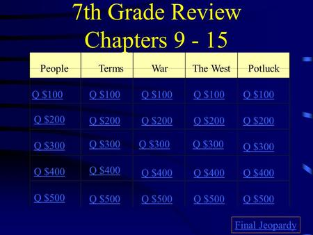 7th Grade Review Chapters 9 - 15 PeopleTermsWarThe WestPotluck Q $100 Q $200 Q $300 Q $400 Q $500 Q $100 Q $200 Q $300 Q $400 Q $500 Final Jeopardy.