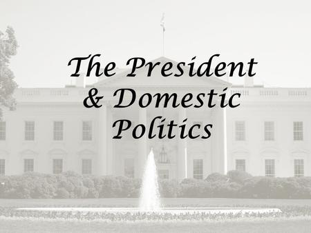 The Presidency & Domestic Policy