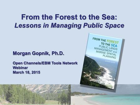 From the Forest to the Sea: Lessons in Managing Public Space Morgan Gopnik, Ph.D. Open Channels/EBM Tools Network Webinar March 18, 2015 From the Forest.