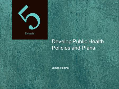 5t5t Domain Develop Public Health Policies and Plans James Hodina.
