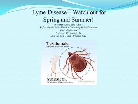 Lyme Disease – Watch out for Spring and Summer! Presentation by Naomi Azunie Ph.D student in Public Health – Community health Education Walden University.