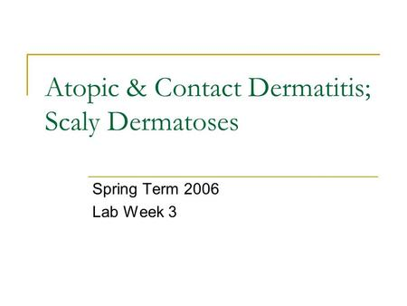 Atopic & Contact Dermatitis; Scaly Dermatoses Spring Term 2006 Lab Week 3.