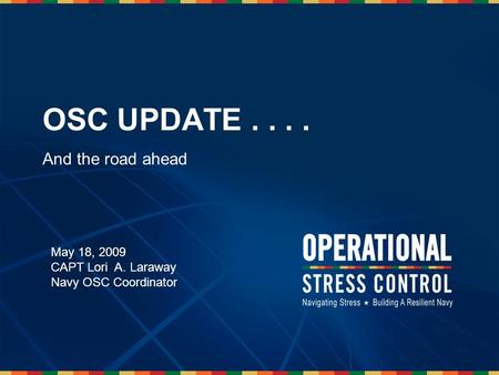 1 OSC UPDATE.... And the road ahead May 18, 2009 CAPT Lori A. Laraway Navy OSC Coordinator.