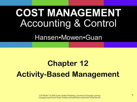 Chapter 12 Activity-Based Management