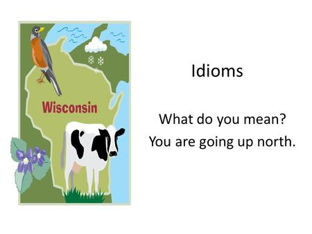 Idioms What do you mean? You are going up north..