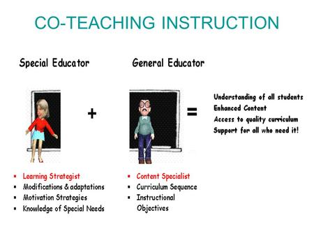 CO-TEACHING INSTRUCTION. Definition of Co-teaching Co-teaching is the process of jointly delivering substantive instruction, in a standards based classroom,