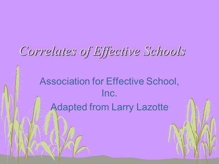 Correlates of Effective Schools Association for Effective School, Inc. Adapted from Larry Lazotte.