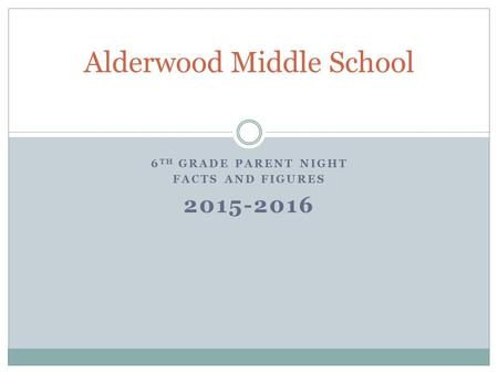 6 TH GRADE PARENT NIGHT FACTS AND FIGURES 2015-2016 Alderwood Middle School.