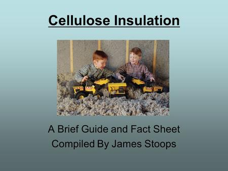Cellulose Insulation A Brief Guide and Fact Sheet Compiled By James Stoops.