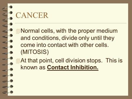 CANCER 4 Normal cells, with the proper medium and conditions, divide only until they come into contact with other cells. (MITOSIS) 4 At that point, cell.