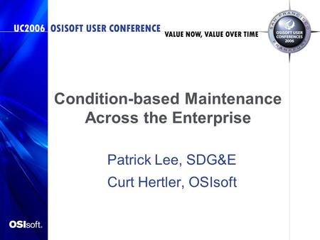 Condition-based Maintenance Across the Enterprise