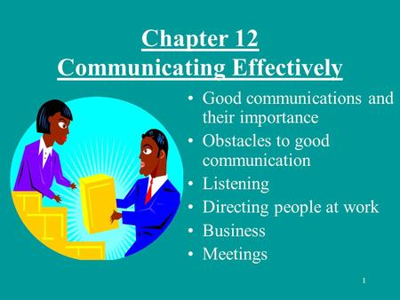 1 Chapter 12 Communicating Effectively Good communications and their importance Obstacles to good communication Listening Directing people at work Business.