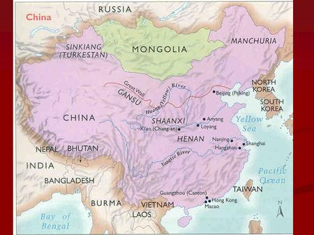 China= only continuing civilization from ancient world. China= only continuing civilization from ancient world. Cut off by mountains, deserts and oceans.
