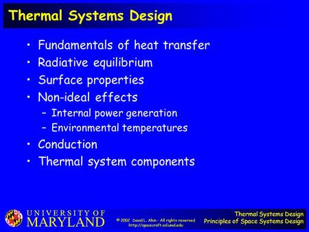 Thermal Systems Design