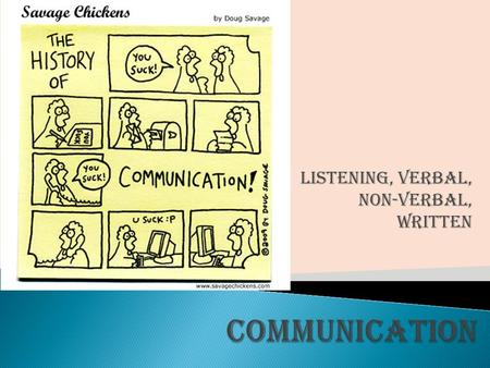 Listening, Verbal, Non-Verbal, Written  Definition: Process of transmitting a message from a sender to a receiver.