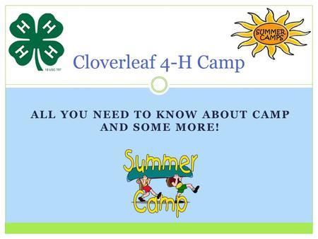 ALL YOU NEED TO KNOW ABOUT CAMP AND SOME MORE! Cloverleaf 4-H Camp.
