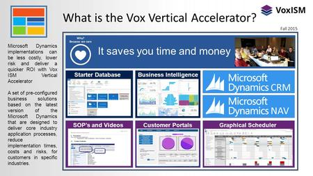 What is the Vox Vertical Accelerator? Microsoft Dynamics implementations can be less costly, lower risk and deliver a quicker ROI with Vox ISM Vertical.