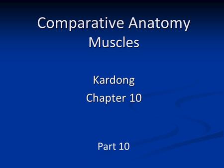 Comparative Anatomy Muscles Kardong Chapter 10 Part 10.