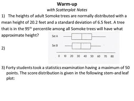 Warm-up with Scatterplot Notes