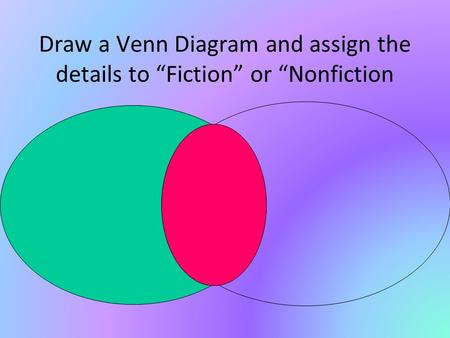 "Draw a Venn Diagram and assign the details to ""Fiction"" or ""Nonfiction."