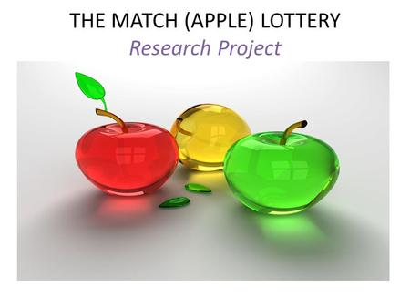 THE MATCH (APPLE) LOTTERY Research Project THE MATCH (APPLE) LOTTERY Objective: Students will create sample spaces to determine theoretical probability.