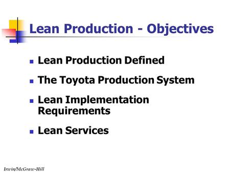 Lean Production - Objectives