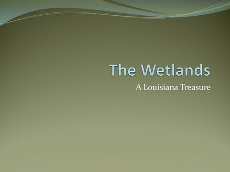 A Louisiana Treasure. What is a wetland? A low-lying area of soft waterlogged ground and standing water Transition zones between land and water Three.