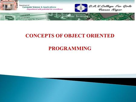 CONCEPTS OF OBJECT ORIENTED PROGRAMMING. Topics To Be Discussed………………………. Objects Classes Data Abstraction and Encapsulation Inheritance Polymorphism.
