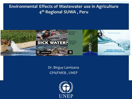 Environmental Effects of Wastewater use in Agriculture 4 th Regional SUWA, Peru.