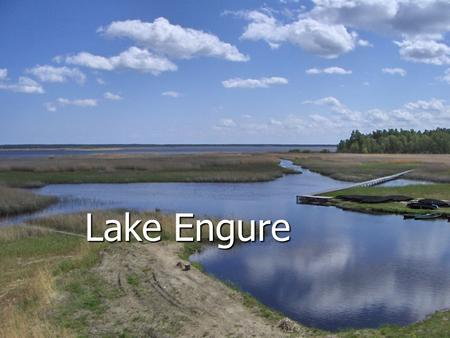 Lake Engure. Location On the West side of the Gulf of Rīga, between Mērsrags and Engure, lies Lake Engure, separated from the gulf of Rīga by 1-3 km wide.