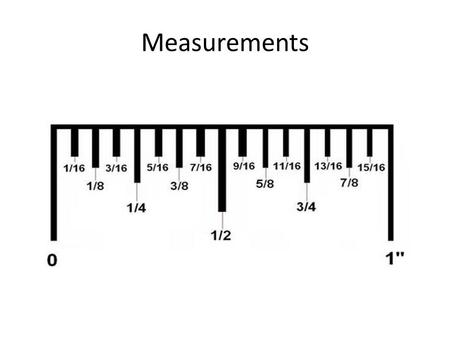 Measurements Measurements (Fractional) Fractional measurements are called out in terms of feet and inches Example  5 feet, 3 and a half inches Same.