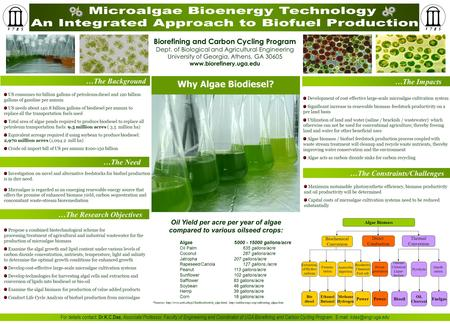 Maximum sustainable photosynthetic efficiency, biomass productivity and oil productivity will be determined Capital costs of microalgae cultivation systems.
