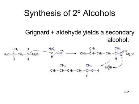Synthesis of 2º Alcohols Grignard + aldehyde yields a secondary alcohol. =>